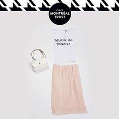 #PMTLook  Un look tout en #douceur !  A light #summer #look! Haut – Vero Moda Jupe et sac à main – Winners #PlaceMtlTrust #Mtl #Fashion #Style #Mode #OOTD #Monday