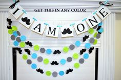 I AM ONE banner and garland set, mustache first birthday banner, Little man birthday party decor birthday, lime green blue Mustache First Birthday, 1st Birthday Boy Themes, 1st Birthday Decorations, First Birthday Banners, Baby Boy First Birthday, First Birthday Parties, First Birthdays, Mustache Party, Mustache Theme