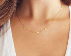 MOON and STAR necklace on delicate sterling silver by Muse411 - Gift for women and girls, wedding & bridal. In our collection you'll find gold & 925 sterling silver products, ring, necklaces, earrings, bracelets, brooches, cuff links with Swarovski crystals. Sale 50% off! #GoldJewelleryDelicate