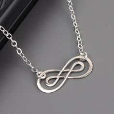 Silver Double Infinity Necklace Pendant by MyDistinctDesigns, $29.00