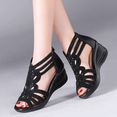 Cheap wedge sandals, Buy Quality comfortable wedge sandals directly from China leather summer shoes women Suppliers: Hollow Out Comfortable Wedged Sandals 2018 Summer Children Genuine Leather Peep Toe Cowhide Diamond Shoes Kids Pretty Shoes, Cute Shoes, Leather Sandals, Wedge Sandals, Sandals 2018, Diamond Shoes, Comfortable Wedges, Shoes With Jeans, Peep Toe Shoes
