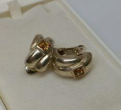 Vintage Ohrstecker - Ohrringe Ohrhänger Silber 925 Kristall gelb SO171 - ein Designerstück von Atelier-Regina bei DaWanda