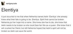 I should not have read that, I had suspicions that Celaena was Aelin, but now I know for sure. Idk why I do this to myself cuz I hate spoilers … … normally I do anyway