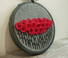 Embroidery Hoop Art Wall Hanging  Pink Flowers on Grey by Sidereal,