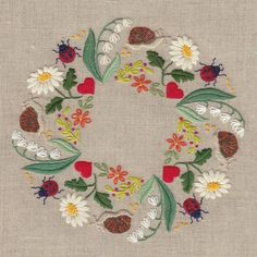Printed on ecru linen with water soluble ink. Stitched include lazy daisy, blanket stitch, fly stitch, stem stitch, French knot, sating stitch, chain stich. The
