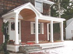 Since the Heritage has a flat porch roof but my new Palladian door has an arch top, I needed a solution to have both. I tried building a portico similar to this one, though my door has a half circle window above it. Photo from JP Works,… Portico Design, House With Porch, House Front, House Exterior, Porch Design, Front Door Pergola, Porch Roof, Door Pergola, Exterior Remodel