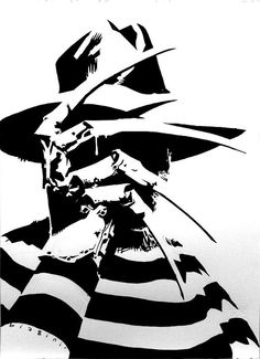 Black and white Freddy Krueger