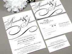 Black Tie Calligraphy Wedding Invitation Set by RunkPock Designs / Modern Script Swirl Formal Invitation shown in classic black and white