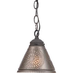 Small Punched Tin PENDANT Shade LIGHT Primitive Hanging Ceiling Fixture Country Farmhouse Decor Kettle Black Chisel Pattern by savingshepherd on Etsy