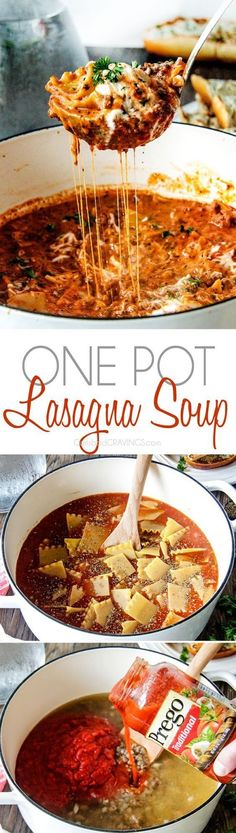 Easy One Pot Lasagna Soup tastes just like lasagna without all the layering or d. - Easy One Pot Lasagna Soup tastes just like lasagna without all the layering or dishes! Think Food, Love Food, Carlsbad Cravings, Cooker Recipes, The Best, Foodies, Brunch, Food And Drink, Healthy Recipes