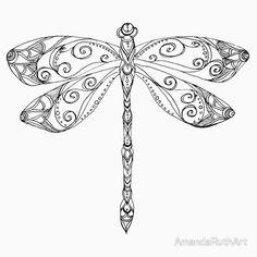 'patterned dragonfly ink drawing' Sticker by AmandaRuthArt Dragonfly Drawing, Dragonfly Tattoo Design, Dragonfly Art, Tattoo Designs, Dragonfly Tatoos, Compass Tattoo, Dibujos Zentangle Art, Tattoo Feminina, Wood Burning Patterns