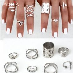 Aliexpress.com : Buy Women Vintage 8Pcs/Set Popular Antique Silver Knuckle Midi Mid Finger Rings Boho Tribal Ethnic Hippie Rings Set from Reliable ring set suppliers on Pythia Jewelry6688 Store