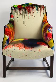Noted for surreal and provocative textiles and wallpapers, the design studio, Timorous Beasties, was founded in Glasgow in Graffiti Furniture, Funky Furniture, Upcycled Furniture, Furniture Makeover, Painted Furniture, Furniture Design, Antique Furniture, Plywood Furniture, Funky Chairs