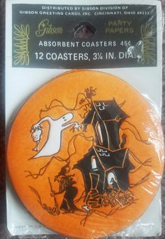 12 pack Unopened Gibson Paper Coasters Haunted House with Ghost ($11) 2017. #vintage #halloween #collectibles #ghost #hauntedhouse
