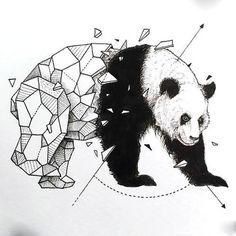 Geometric Panda Tattoo Design