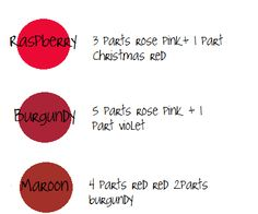 raspberry, burgundy, maroon Using experience and a handy color chart from a veteran cake decorator, I tried to put together a little guide to refer to while mixing icing colors. -says the originator of this info