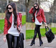 Red Biker Jacket & Fringe bag