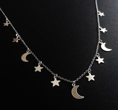 moon and stars necklace ☪ OfStarsAndWine on etsy ☪  boho grunge handmade jewelry