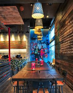 Nando's have come a long way since they opened their first restaurant in Johannesburg in but one thing is sure – they haven't forgotte. Bar Interior, Restaurant Interior Design, Room Interior, Cafe Bar, Bar Mexicano, Coffee Shop, Deco Cafe, Deco Restaurant, Graffiti Restaurant