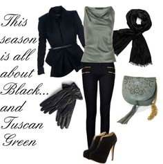 """""""This Season is all About Black & Tuscan Green"""" by lisbethusala on Polyvore"""