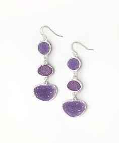 Look at this #zulilyfind! Silver & Purple Druzy Drop Earrings by ZAD #zulilyfinds