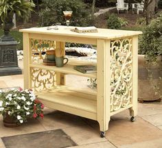 The Veranda Serving Island is a great place to serve up a lovely afternoon treat, or even use as a moveable display for your favorite plants and other outdoor decor.