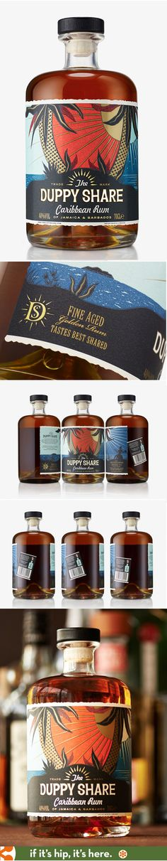 ///// Duppy Share Carribean Rum label design by B&B Studio #rum #bottle #packaging #design