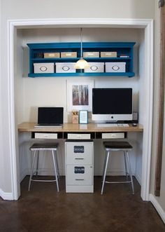 Small Space Inspiration: 10 Closets Turned Workspaces & Home Offices  high shelves with boxes. clever storage idea that also looks nice