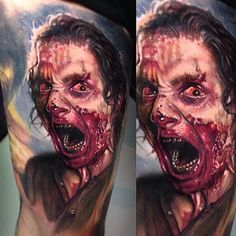 horror color realism by Paul Acker at Deep Six Tattoo (Philadelphia)