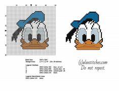Disney Donald Duck face cross stitch baby bib idea