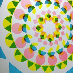 """In 2016 Bonnie ran a mandala workshop at the Wellcome Collection for their 'Tibet's Secret Temple' exhibition. She began experimenting with mandalas, including this work in progress screen print. """"I play with the boundaries of what pattern is, exploring the balance between order and disorder. I see pattern as an art form in itself, as opposed to 'mere' decoration."""" - #bonniecraig #mandalas #printmaking #screenprints #geometry #line #pattern #colour #prints #onlineprintshop #lookupprints Wellcome Collection, Online Print Shop, Book Binding, Public Art, Graffiti Art, Looking Up, Surface Design, Art Forms, Printmaking"""