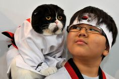 cat and owner in ninja costumes