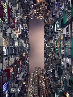 Hong Kong's architectural race to the sky is captured in a vertiginous view of its towering skyscrapers. Photographer: Romain Jacquet-Lagreze.