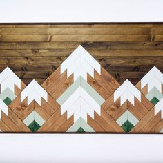 Geometric Mountain Tops Wooden Wall Art