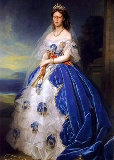 Portrait of the Queen Olga of Württemberg - Franz Xaver Winterhalter, 1865 Franz Xaver Winterhalter, Victorian Art, Victorian Fashion, Historical Costume, Historical Clothing, Grand Duchess Olga, Court Dresses, Classical Art, Woman Painting
