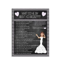 ****Printable Bridal/Wedding Shower Game****DIGITAL DOWNLOAD*****  This game will create lots of laughs! The Groom is asked questions about the