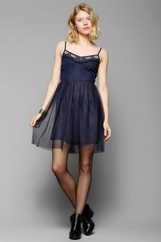 Band Of Gypsies Embroidered Tulle-Skirt Dress #urbanoutfitters