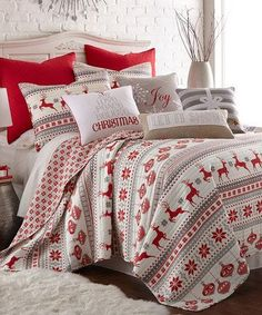 Look at this #zulilyfind! White & Red Snowy Quilt Set #zulilyfinds