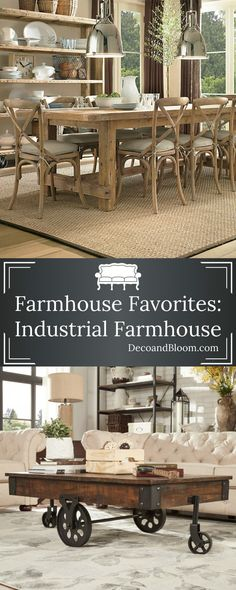 Farmhouse Favorites: Industrial Farmhouse - From the Home Decor Discovery Community at www.DecoandBloom.com