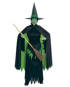 He...he?Ill get you my pretty...and your dog too! The Wicked Witch Costume for Women features a black gown with a torn and tattered hem around the rim of the dress. Around the bodice of the dress is a green and black torn peplum. The bodice is jet black and has a tight collar. The cape that connects around the collar is also jet black, but incorporates the design of the rest of the costume. The back has multilayers with a torn hem design. The outer layer for the cape is black and under layer…