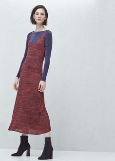 Premium - ribbed long dress - Shoes for Women | MANGO USA