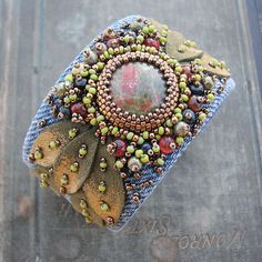 ~~ Unakite Cuff Bracelet with Recycled Denim, Gold Tipped Leaves and Bead Embroidery ~~