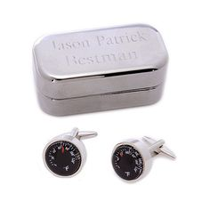 Thermometer Cufflinks with Personalized Case