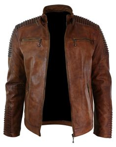 Men's Motorcycle Classic Diamond Brown Distressed Leather Jacket.This beautiful and rugged looking Cafe Racer leather jacket is what you should add to your wardrobe as soon as possible. #MensFashionRugged