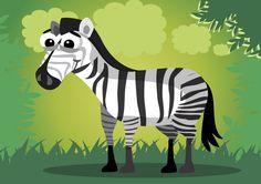 [フリーイラスト素材] イラスト, シマウマ, 馬 / ウマ, 哺乳類, 動物 / 生き物, AI ID:201407160500
