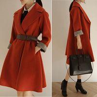 ffddf627a454 Autumn winter Korean Style women woolen trench coat Loose long outerwear  overcoats Plus Size Women's windbreak