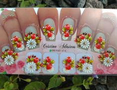 Manicure, Nails, Nail Art, Stickers, Instagram, Nail Wraps, Cool Easy Nail Designs, Flower Nail Designs, White Nail Beds
