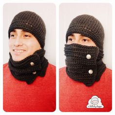 Mens crochet hat with small adjustable scarf for those below freezing temperatures!