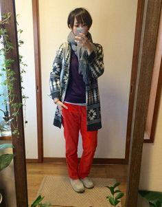 11月15日 MUJIパープルニットにGAP赤パンツで新鮮カラーCD