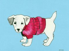 lil puppy in a sweater illustration by daphne van denheuvel